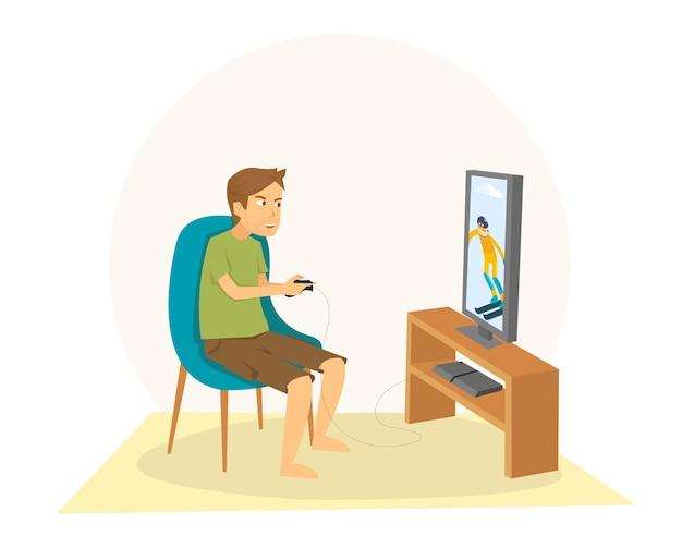 Guy assis et jouer à des jeux