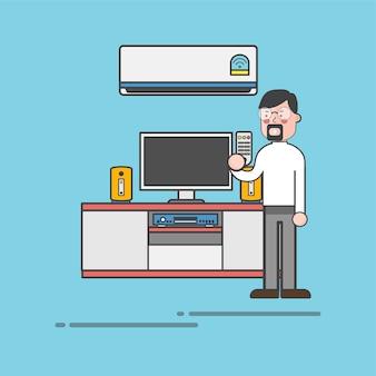 Guy avec une barbiche tenant un vecteur de télévision à distance