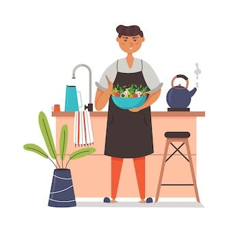 Guy de chef en tablier préparant une salade végétalienne maison. cuisiner dans la cuisine de la maison. télévision illustration vectorielle