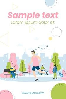 Guy écoutant de la musique et du jogging dans l'illustration du parc