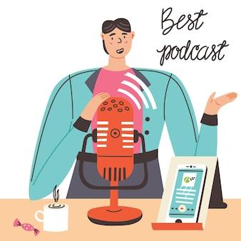 Guy enregistre le microphone du smartphone podcast. lettrage meilleur podcast. illustration plate de vecteur moderne