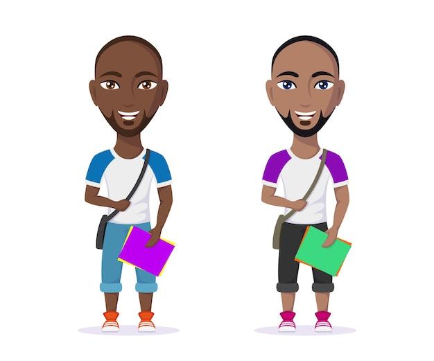 Guy étudiant mignon dans des vêtements décontractés avec des cahiers d'exercices isolés