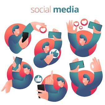 Guy d'expression de réseautage social avec smartphone. ensemble d'icônes