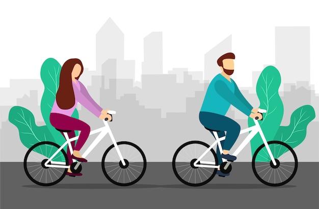Guy et fille font du vélo dans la campagne. cyclisme. style plat. illustration vectorielle.