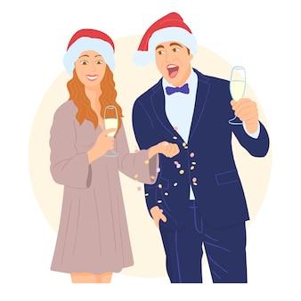 Guy et fille tiennent des verres de champagne