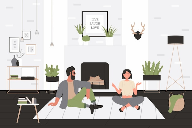 Guy de hipster et fille parlant illustration vectorielle. dessin animé heureux homme femme ami ou couple personnages assis sur le sol dans l'intérieur de la maison confortable salon, petit ami et petite amie passent du temps ensemble
