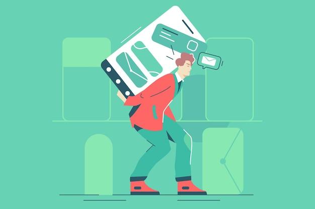 Guy portant un téléphone avec des messages vector illustration. l'homme porte un smartphone avec des e-mails de revenu sur un écran plat. technologie, divertissement, concept de livraison. isolé sur fond vert