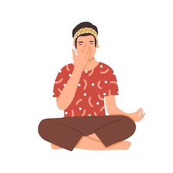 Guy pratiquant l'illustration vectorielle plane pranayama. jeune homme exerçant un personnage de dessin animé de techniques de respiration spéciales. yogi masculin assis en position du lotus. détente et contrôle de la respiration.
