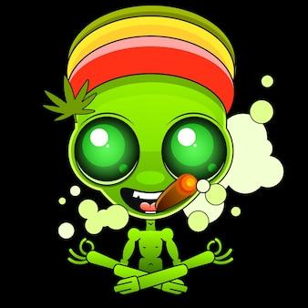 Guy, rastaman, avec des dreadlocks, des lunettes, avec des écouteurs, tient un bang à la main. feuille de cannabis sur le fond. modèle de carte, affiche, bannière, impression de t-shirts, badge.
