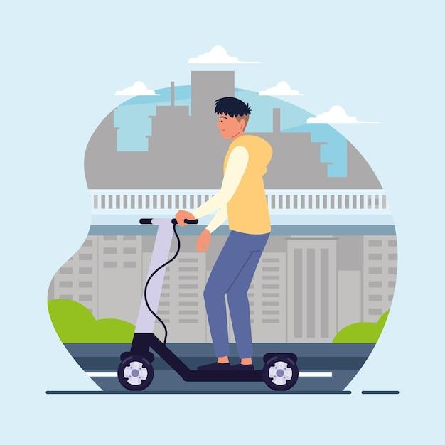 Guy riding kick scooter