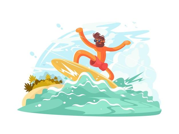 Guy de surfeur en lunettes de soleil glissant sur la grosse vague de l'océan. illustration