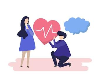 Guy tenant un coeur battant pour une illustration de la femme