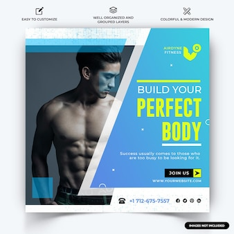 Gym and fitness instagram poster vecteur de modèle de bannière web vecteur premium