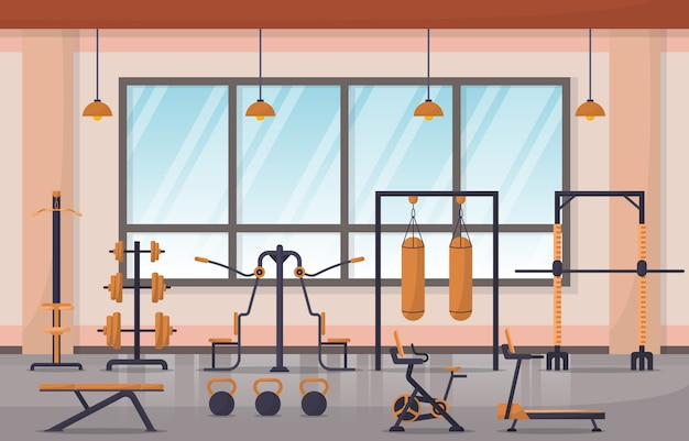 Gym center interior sport club fitness weight bodybuilding equipment illustration