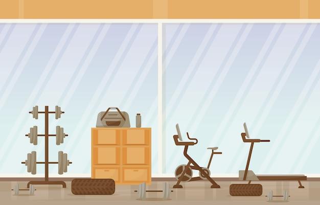 Gym center interior sport club fitness weight bodybuilding equipment illustration