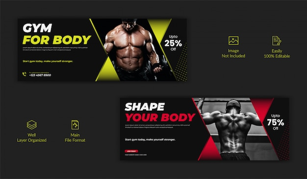 Gym centre de formation de fitness médias sociaux post facebook page de couverture chronologie modèle de bannière de site web en ligne