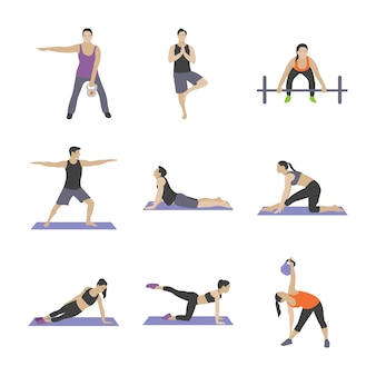 Gym exercices icônes plats