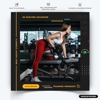 Gym et fitness instagram poster modèle de bannière web vecteur premium