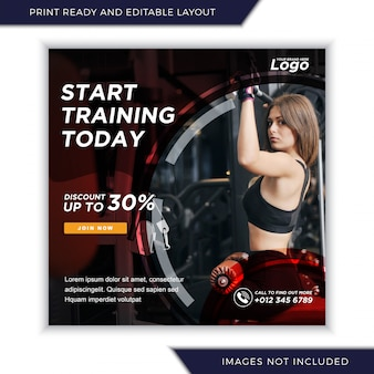 Gym et fitness pour les médias sociaux instagram modèle de bannière de publication