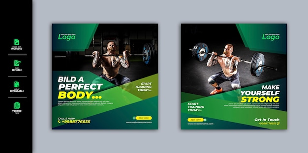 Gym et fitness social media post facebook post instagram story template premium