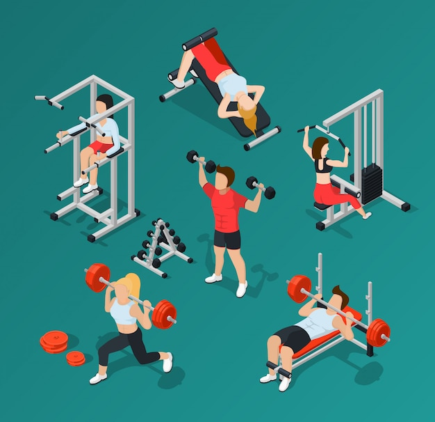 Gym people icon set