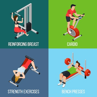 Gym people isolated icon set