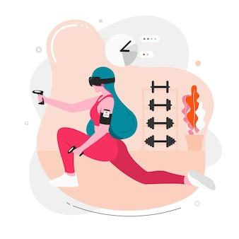 Gym virtuelle à la maison concept