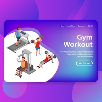 Gym workout fitness training illustration landing page