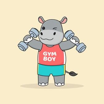 Gymnase hippopotame mignon tenant des haltères