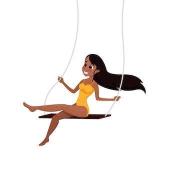 Gymnaste aérien fille sur le personnage de dessin animé de balançoire