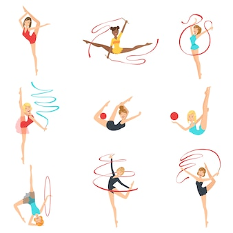 Gymnastes rythmiques s'entraînant avec différents appareils