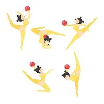 Gymnastique féminine avec illustration de dessin animé de vecteur ball