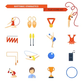 Gymnastique icône plate