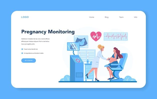 Gynécologue, reproductologue et bannière web sur la santé des femmes