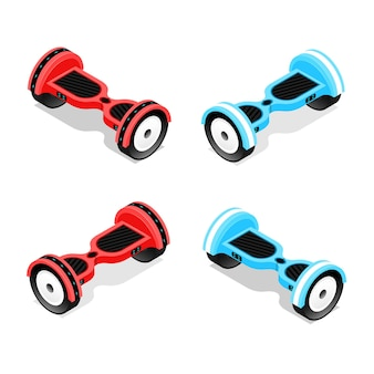 Gyroscooter ensemble rouge et bleu vue isométrique hoverboard, scooter auto-équilibrant à deux roues.