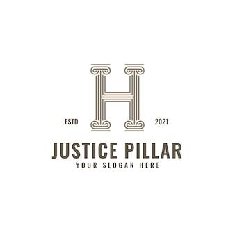 H lettre logo justice et cabinet d'avocats pilier audacieux professionnel line art