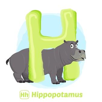 H pour hippopotame.