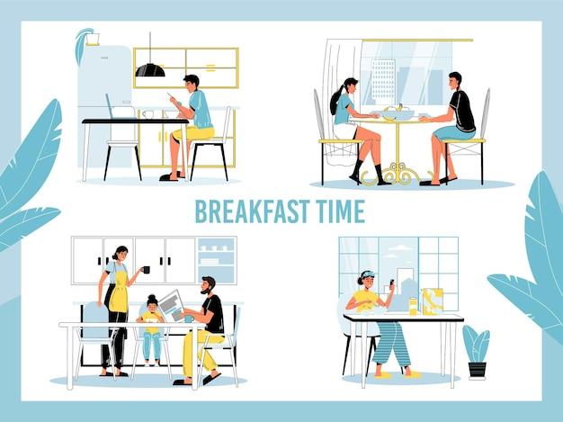 Habitude matinale quotidienne d'un petit déjeuner sain