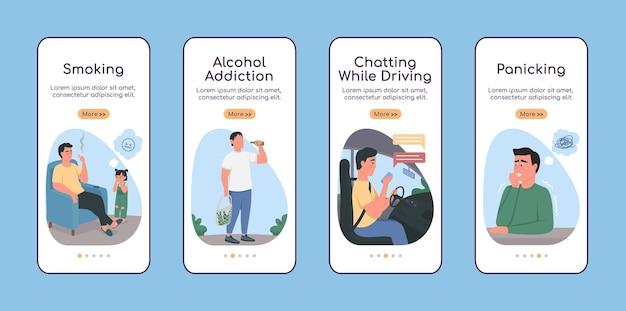 Habitudes malsaines à bord d'un modèle vectoriel plat d'écran d'application mobile. dépendance à l'alcool. site web pas à pas en 4 étapes avec des personnages. creative ux, ui, interface de dessin animé pour smartphone gui, ensemble d'impressions de cas