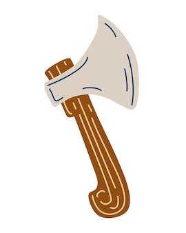 Hache en bois. forestier, feu, hache touristique et hache de cuisine. icône de l'outil de camping. illustration de dessin animé de vecteur.
