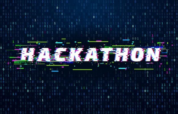 Hackathon. événement de codage du marathon de piratage, affiche de glitch et flux de code de données binaires saturés