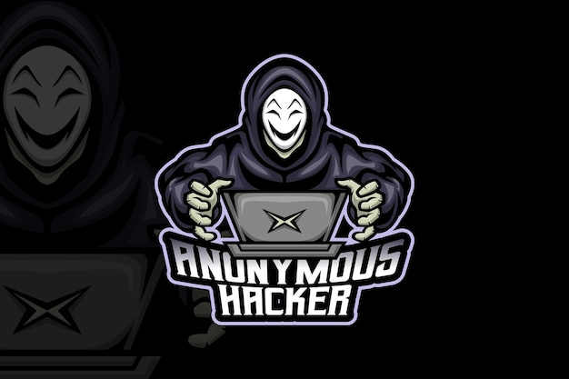 Hacker anonyme - modèle de logo esport