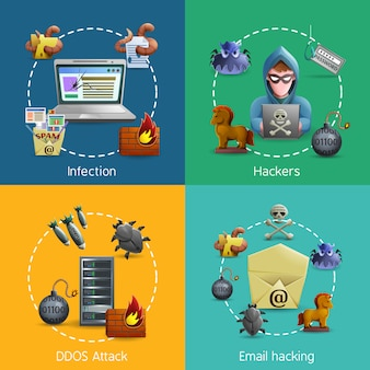 Hacker cyber ​​attack icons concept