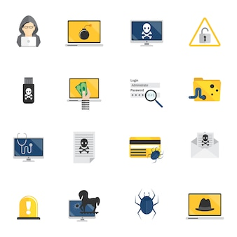 Hacker icons flat