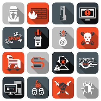 Hacker icons set flat