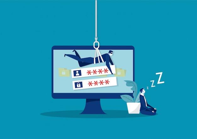 Hacker stealing password et informations de données sur l'ordinateur portable.