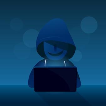 Hacker voleur s'asseoir avec un ordinateur pour piratage sur fond sombre