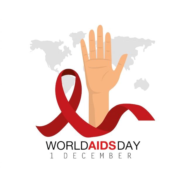 Hadn et ruban à la journée mondiale du sida