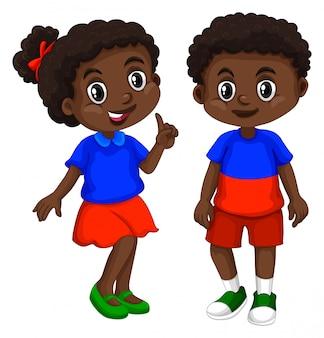 Haiti garçon et fille au visage heureux