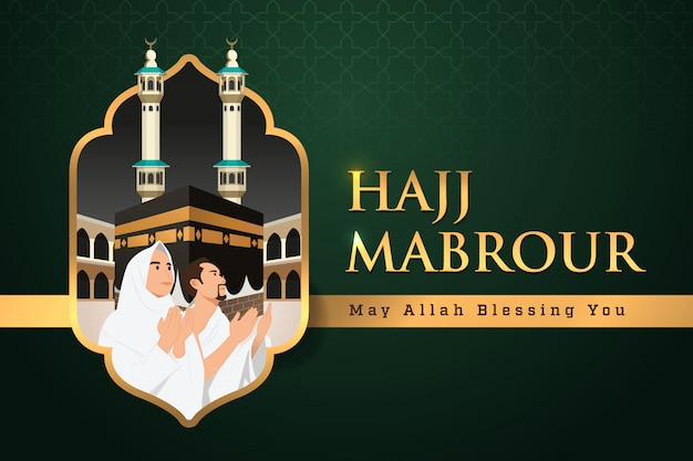 Hajj mabrour background avec kaaba, homme et femme hajj ou umrah character